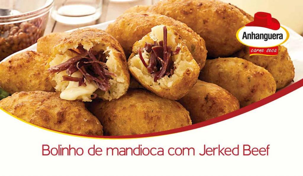 Bolinho de mandioca com carne seca - Anhanguera Carne Seca e Jerked Beef