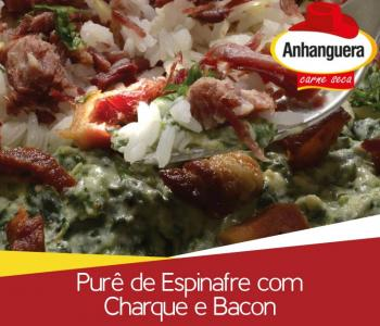 Purê de Espinafre com Charque e Bacon