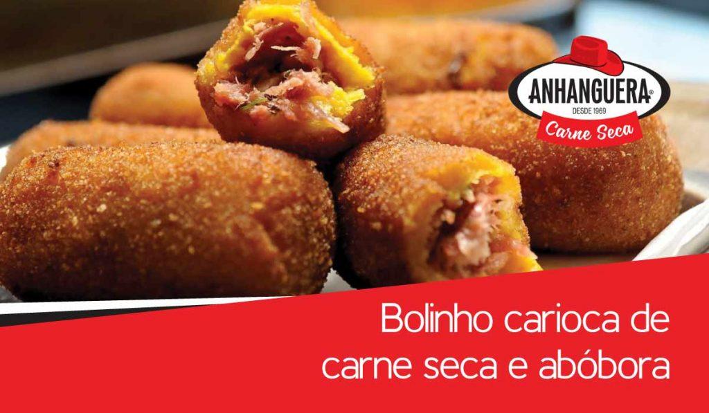 Bolinho carioca de carne seca Anhanguera e abóbora