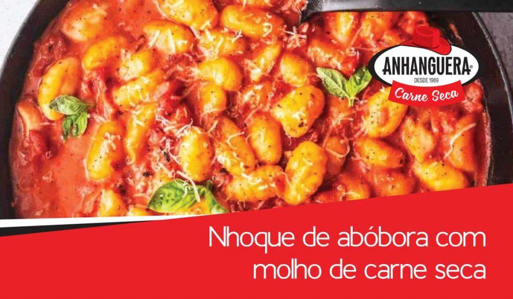 Nhoque de abóbora com molho de carne seca Anhanguera