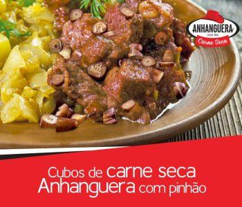 Cubos de carne seca Anhanguera com pinhão