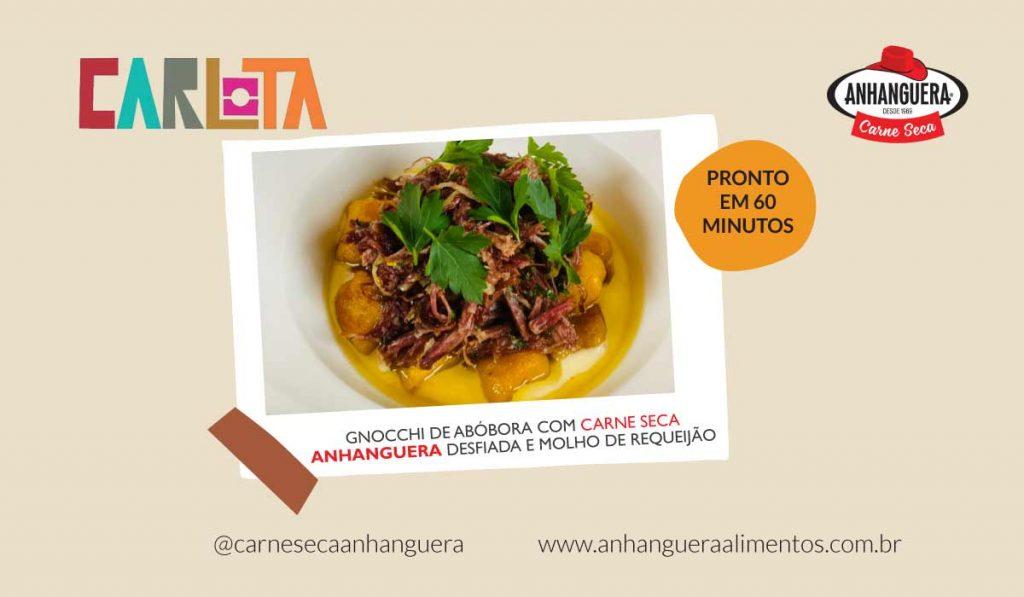 Gnocchi de abóbora com carne seca Anhanguera desfiada e molho de requeijão