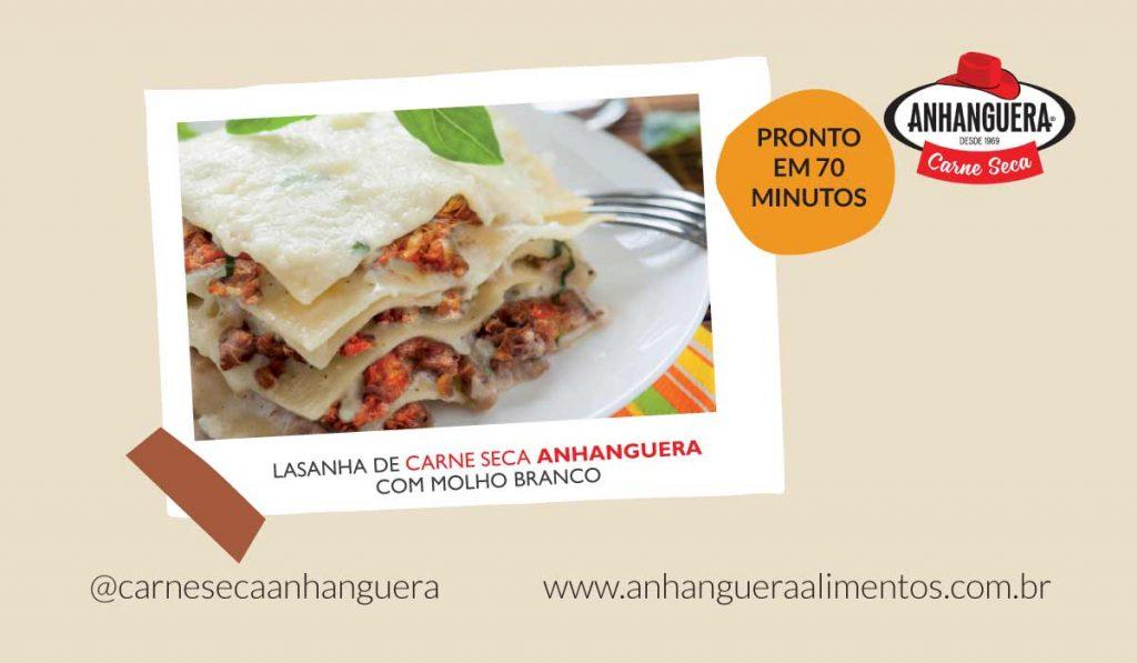 Lasanha de carne seca Anhanguera com molho branco